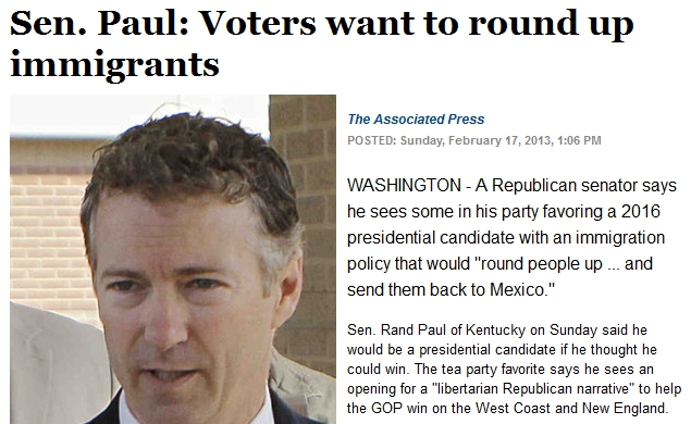 AP Withdraws Bogus Article Claiming Rand Paul Said Voters Want To Round Up Immigrants | NewsBusters