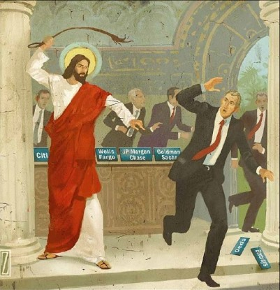 Modern interpretation of Christ driving the money changers from the temple by Anthony Freda/Daniel Zollinger